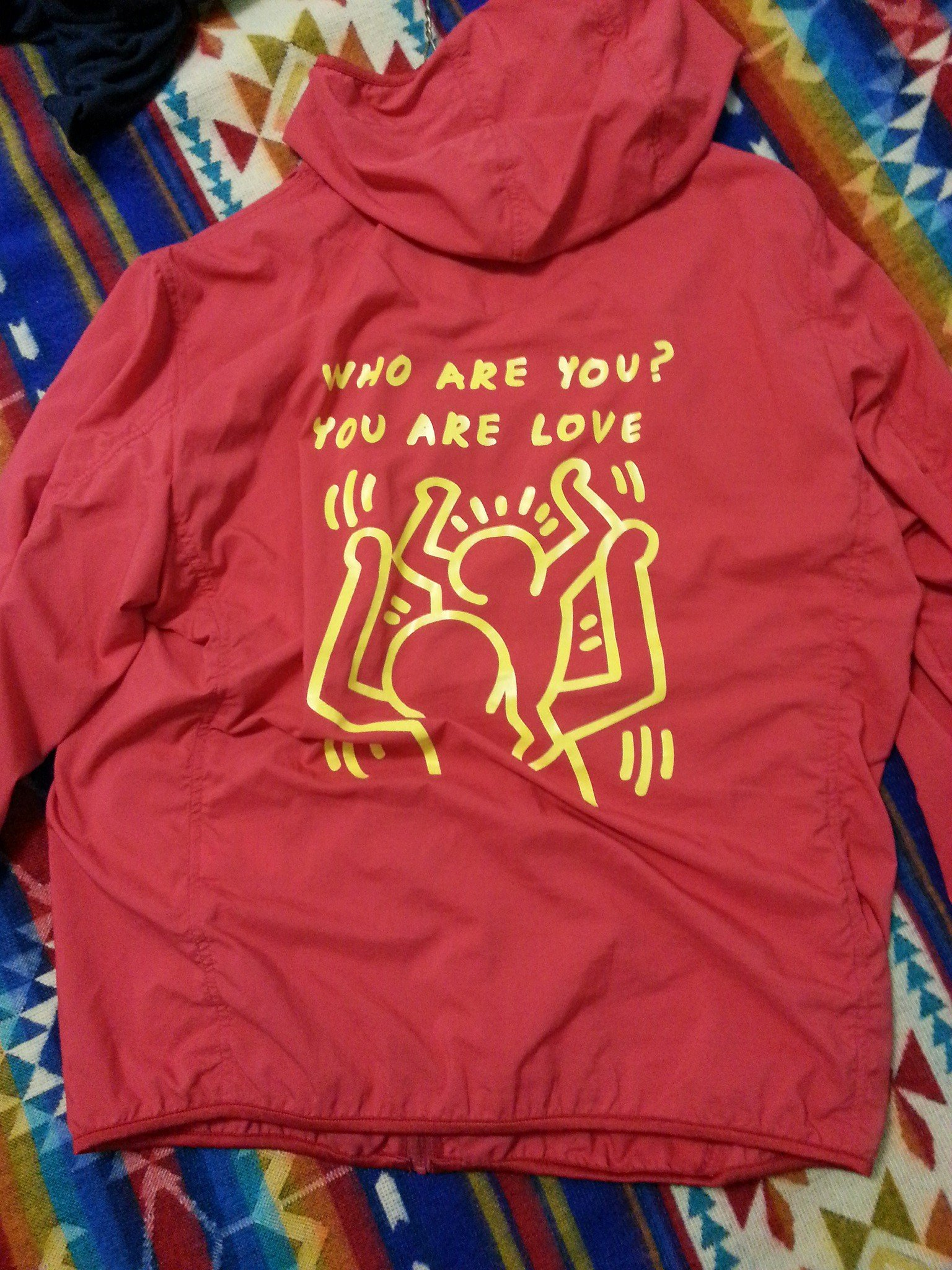 We're big Keith Haring fans. I love the vibrancy of this jacket's message and graphics.